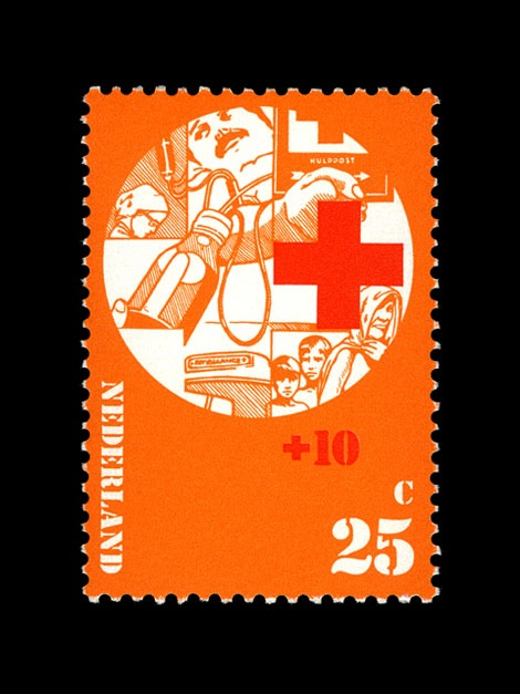 red cross dutch stamp 1970s
