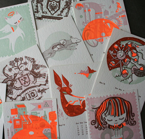 studio on fire, little friends of printmaking, rilla alexander, happymeat, 2010 calendar
